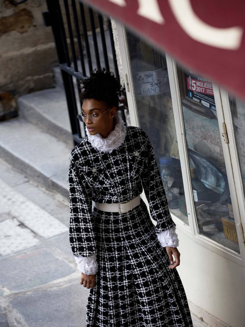 through the lens: Photography   Chantelle Dosser fashion director   Sarah Maiseybelted dress in checked tweed with an embroidered mock turtleneck and patch-flap pockets; and rounded spectacles, both from Chanel Haute Couture