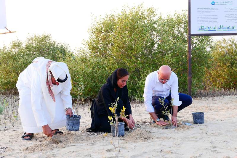 DUBAI, UNITED ARAB EMIRATES , April 19  – 2021 :- Left to Right – Major Ali Al Suwaidi, Hiba Obaid Al Shehhi, Acting Director Of Biodiversity Department and  Omar Channawi, CEO, Procter and Gamble Middle East FZE planting during the inauguration of Dubai Mangroves Forest at the Jebel Ali Wildlife Sanctuary, held under the patronage of Her Highness Sheikha Manal bint Mohammed bin Rashid Al Maktoum, President of Dubai Women Establishment and Honorary President of EMEG.  ( Pawan Singh / The National ) For News/Online/Instagram/Standalone/Big Picture. Story by Ramola