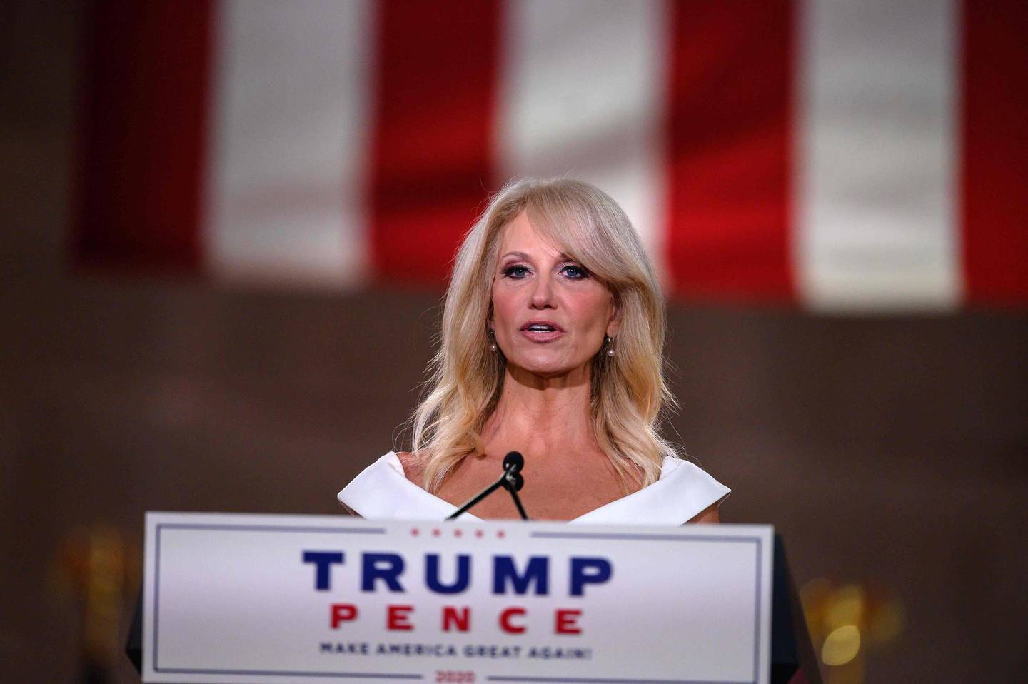 """(FILES) In this file photo taken on August 26, 2020 outgoing Counselor to US President Donald Trump, Kellyanne Conway, addresses the Republican National Convention in a pre-recorded speech at the Andrew W. Mellon Auditorium in Washington, DC, on August 26, 2020. Former Counselor to the US President Kellyanne Conway said on October 2, 2020 that she has tested positive for Covid-19. President Donald Trump was hospitalized on October 2 and given an experimental Covid-19 treatment, but said he was """"well,"""" following bombshell news that the Republican had contracted the virus, knocking him off the campaign trail a month from the US election. / AFP / NICHOLAS KAMM"""