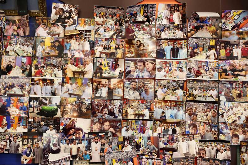 DUBAI , UNITED ARAB EMIRATES , January 9 ��� 2019 :- Pictures of celebrities and fans on the wall of Ustad Special Kabab Iranian restaurant in Bur Dubai in Dubai. ( Pawan Singh / The National ) For News. Story by Nick Webster