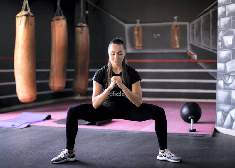 DUBAI, UNITED ARAB EMIRATES. 19 AUGUST 2019. Personal trainer, Olga Martinica, demostrates a squat, an excercise part of the pre-natal and post-partum fitness at Super Boost Gym Al Barsha.(Photo: Reem Mohammed/The National)Reporter: HAFSA LODISection: LF