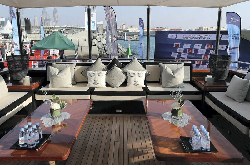 DUBAI , UNITED ARAB EMIRATES , February 26 – 2019 :- Upper deck of the Rocket Yacht which is on display at the Dubai International Boat Show held in Dubai. ( Pawan Singh / The National ) For Lifestyle. Story by Sophie