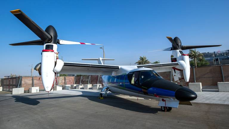 An image that illustrates this article VIPs keen as part-plane, part-helicopter arrives at Expo 2020 Dubai