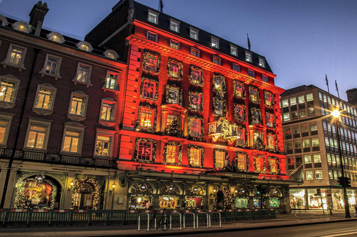 Locations in London during lockdown in the lead up to Christmas 2020. Fortnum and Masons