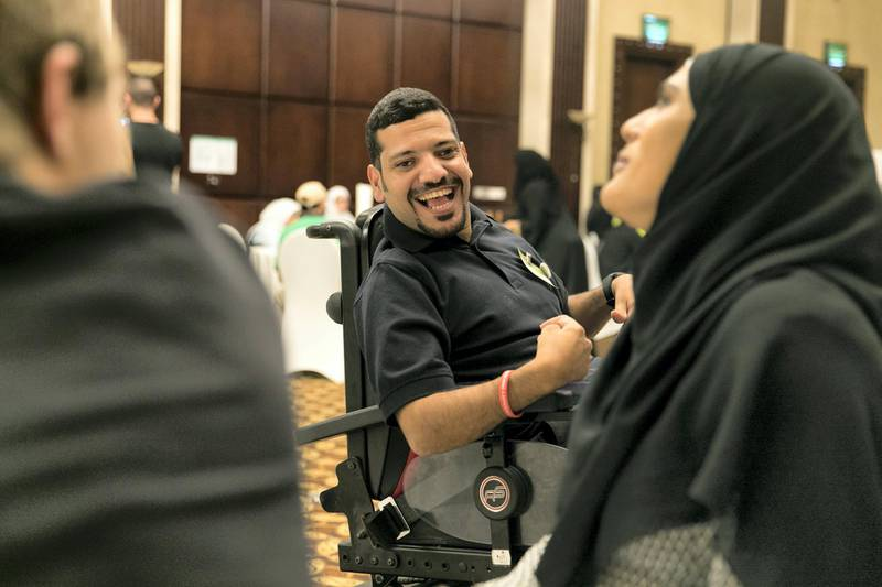 ABU DHABI, UNITED ARAB EMIRATES - Feb 22, 2018.Ahmed Al Quabaisi is training to volunteer at the Special Olympics Games.Sedra Foundation has organized a volunteer training workshop for individuals with intellectual disabilities, in preparation for the Special Olympic Games.(Photo: Reem Mohammed/ The National)Reporter: Ramola TalwarSection: NA