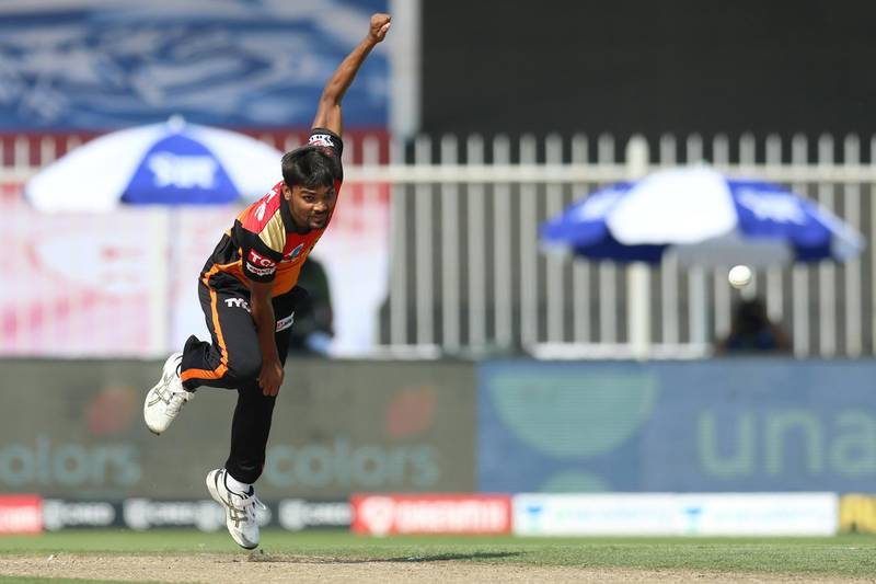 Sandeep Sharma of Sunrisers Hyderabad bowls during match 17 of season 13 of the Dream 11 Indian Premier League (IPL) between the Mumbai Indians and the Sunrisers Hyderabad held at the Sharjah Cricket Stadium, Sharjah in the United Arab Emirates on the 4th October 2020. Photo by: Deepak Malik  / Sportzpics for BCCI