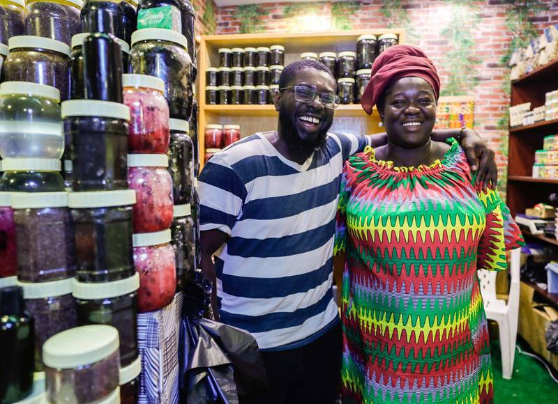 Abu Dhabi, United Arab Emirates, January 5, 2020.  Photo essay of Global Village.--   The Africa Pavillion.  Okanta, and Wife Diana own the Diana African Soaps and Creams shop at the Africa Pavillion.  They have been operating this shop for 9 years now.Victor Besa / The NationalSection:  WKReporter:  Katy Gillett
