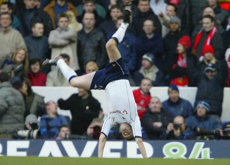 LONDON - JANUARY 17:  Robbie Keane of Tottenham Hotspur celebrates after scoring the first goal during the FA Barclaycard Premiership match between Tottenham Hotspur and Liverpool at White Hart Lane on January 17, 2004 in London.  (Photo by Clive Rose/Getty Images)