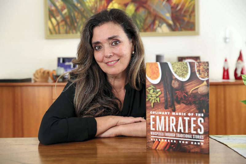 DUBAI , UNITED ARAB EMIRATES , December 8  ��� 2018 :- Alexandra Von Hahn with her cook book ���Culinary Magic of the Emirates��� at the Meadows in Dubai. ( Pawan Singh / The National ) For Arts & Life. Story by Hala Khalaf