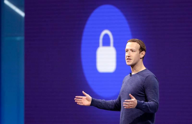 Facebook CEO Mark Zuckerberg makes the keynote speech at F8, theFacebook's developer conference, Tuesday, May 1, 2018, in San Jose, Calif. (AP Photo/Marcio Jose Sanchez)