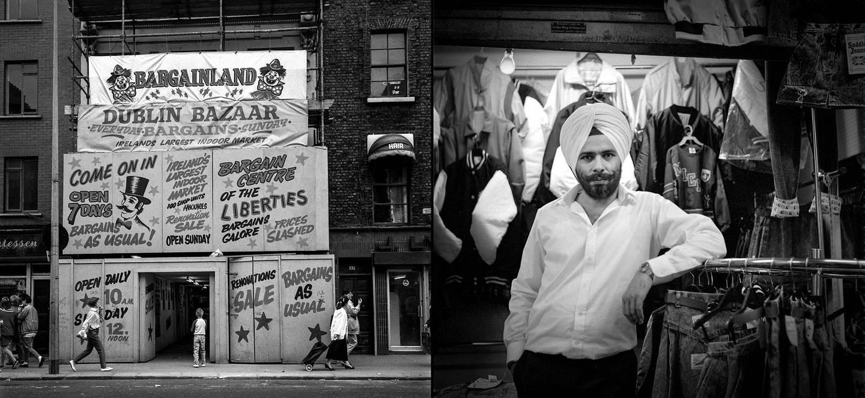Dublin Bazaar, Liberties, Dublin, and a salesman, with period advertising