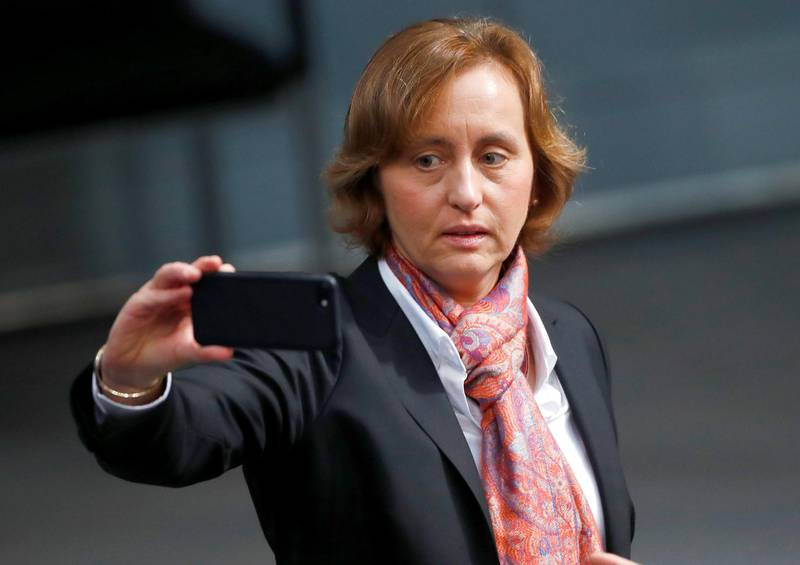 """FILE PHOTO: Co-leader of the anti-immigration party Alternative for Germany (AfD) Beatrix von Storch arrives at the German lower house of Parliament, Bundestag,  in Berlin, Germany, October 24, 2017. German police have asked prosecutors to investigate a far-right lawmaker for possible incitement to hatred after she criticised a police force for tweeting in Arabic """"to appease the barbaric, Muslim, rapist hoards of men"""".REUTERS/Hannibal Hanschke/File Photo"""