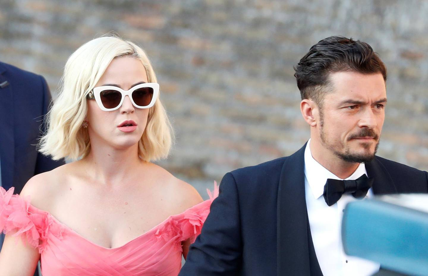 Singer Kate Perry and actor Orlando Bloom arrive to attend the wedding of fashion designer Misha Nonoo at Villa Aurelia in Rome, Italy, September 20, 2019. REUTERS/Yara Nardi