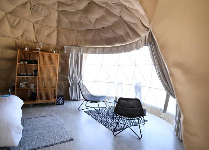 Abu Dhabi, United Arab Emirates - Accommodation in a minimalistic chic dome at  Pure Eco Retreat on Jubail Island. Khushnum Bhandari for The National