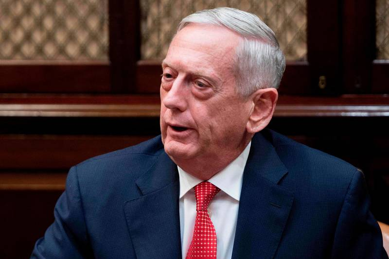 (FILES) This file photo taken on November 28, 2017 shows US Secretary of Defense James Mattis making a statement at the White House in Washington, DC. The US military must regain its strategic advantages over Russia and China and prioritize being ready for war, Defense Secretary Jim Mattis said January 19, 2018 as he unveiled the Pentagon's vision for the future. The administration of President Donald Trump worries that America's vast military is feeling the effects of years of budget shortfalls and atrophy, and needs a full reboot to restore it to an idealized strength.  / AFP PHOTO / JIM WATSON