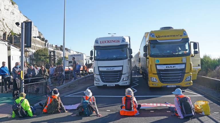 An image that illustrates this article Climate activists block Dover Port causing long queues