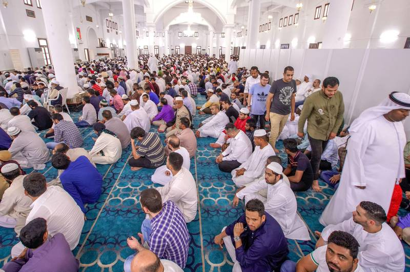 Abu Dhabi, United Arab Emirates, August 11, 2019.  Eid prayers at Zayed The 2nd Mosque. --  During Eid prayers.Victor Besa/The NationalSection:  NAReporter: Haneen Dajani