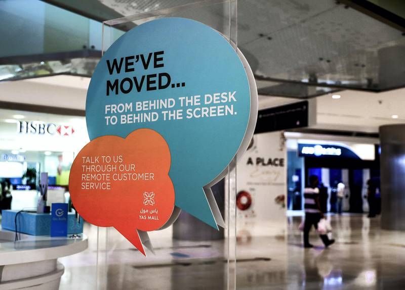 Abu Dhabi, United Arab Emirates, August 19, 2020.  The contact less information desk with a monitor directly linked to an information centre in the mall with an operator to answer any mall inquiries.Victor Besa /The NationalSection:  NAReporter:  Haneen Dajani