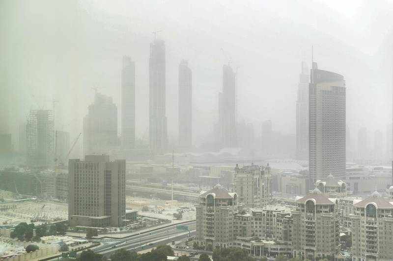 DUBAI, UNITED ARAB EMIRATES - JULY 30, 2018. Sheikh Zayed Road on a dusty day.(Photo by Reem Mohammed/The National)Reporter: Section: NA