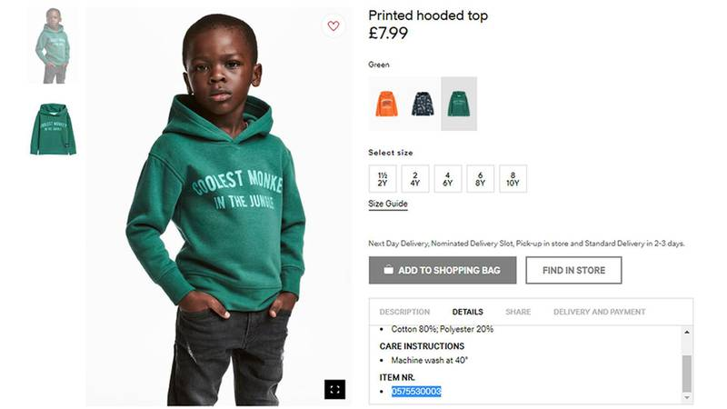 """An undated photo of an advert for a hoodie by H&M. Clothing giant H&M has apologized Monday, Jan. 8, 2017, and removed an advertising image of a black model in a sweatshirt with the words """"Coolest monkey in the jungle.'' The brand removed the image, but kept in place other designs modeled by white children. (H&M via AP)"""