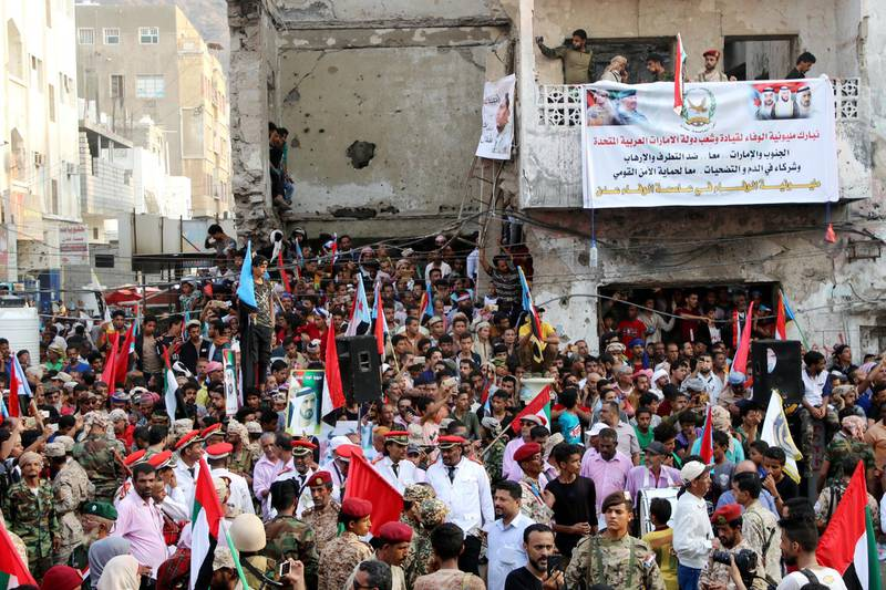 FILE PHOTO: Supporters of Yemen's southern separatists rally to show support to the United Arab Emirates amid a standoff with the Saudi-backed government, in the port city of Aden, Yemen September 5, 2019. REUTERS/Fawaz Salman/File Photo