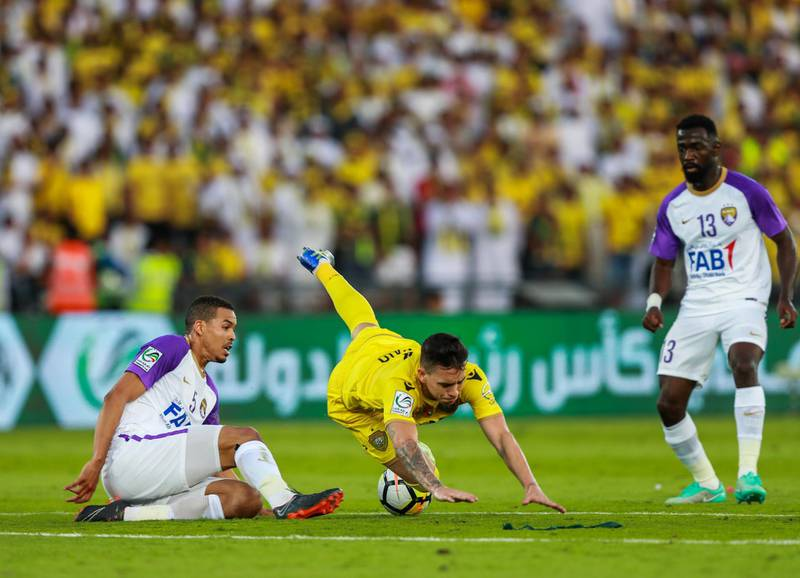 Abu Dhabi, UAE.  May 3, 2018.   President's Cup Final, Al Ain FC VS. Al Wasl.  (center) Ronaldo Mendes gets tripped as he tries to get away with the ball.Victor Besa / The NationalSportsReporter: John McAuley