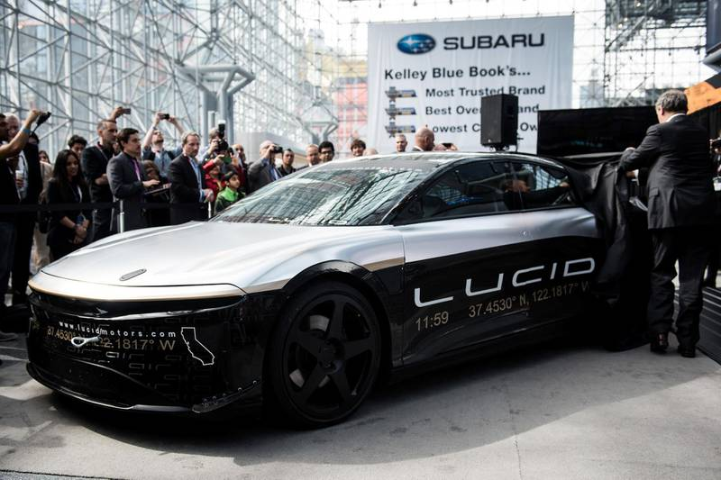 The Lucid Motors Inc. Alpha Speed Car is unveiled after completing a 217mph test in Ohio ahead of the 2017 New York International Auto Show (NYIAS) in New York, U.S., on Thursday, April 13, 2017. The New York International Auto Show, North America's first and largest-attended auto show dating back to 1900, showcases an incredible collection of cutting-edge design and extraordinary innovation. Photographer: Mark Kauzlarich/Bloomberg