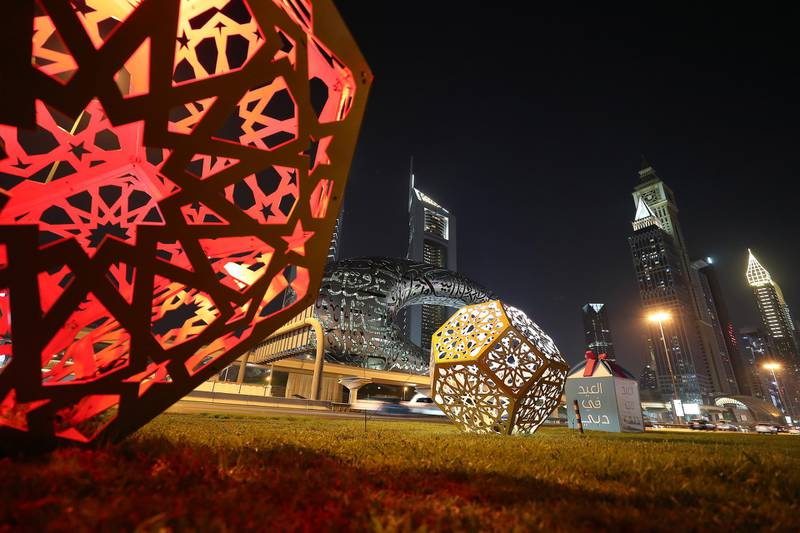 Eid decoration along Sheikh Zayed road in Dubai on May 10,2021. Pawan Singh / The National.