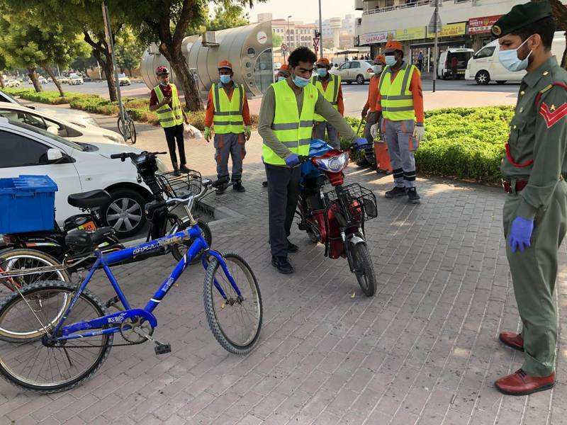 More than 200 bicycles and electric bikes confiscated as part of a one-week campaign to enforce traffic rules. Courtesy Dubai Police