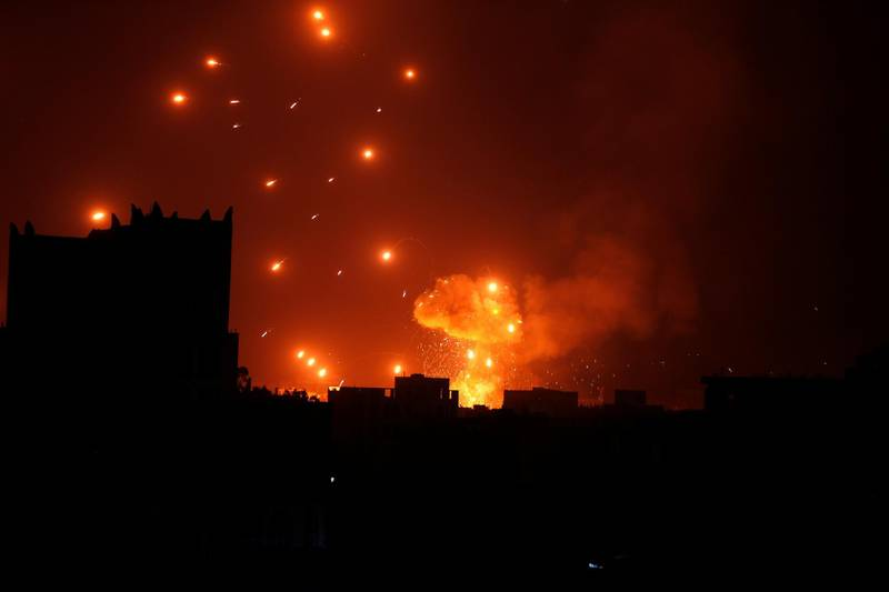 A Houthi arms depot explodes after it was hit by air strikes in Sanaa, Yemen January 31, 2018. REUTERS/Khaled Abdullah     TPX IMAGES OF THE DAY