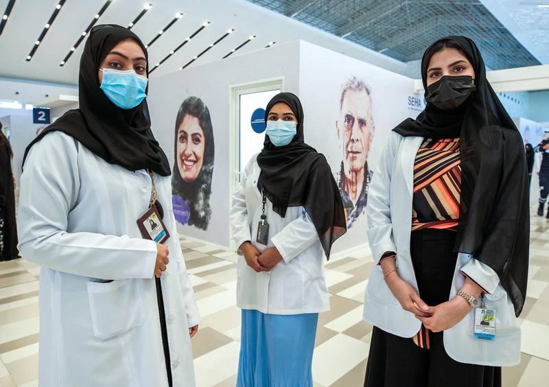 Abu Dhabi, United Arab Emirates, January 12, 2021. SEHA Vaccination Centre at the Abu Dhabi Cruise Terminal area.  Emirati healthcare workers, Mouza Al Beshr, Khadija Al Nuaimi and Za,zam Al Naqbi. Victor Besa/The NationalSection:  NAReporter:  Shireena Al Nowais