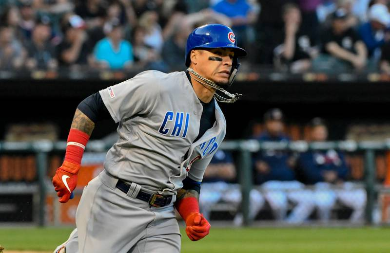 Jul 6, 2019; Chicago, IL, USA; Chicago Cubs shortstop Javier Baez (9) runs the bases after he hits an RBI double in the fifth inning against the Chicago White Sox at Guaranteed Rate Field. Mandatory Credit: Matt Marton-USA TODAY Sports