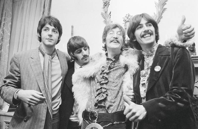 The Beatles at the press launch for their new album 'Sergeant Pepper's Lonely Hearts Club Band', held at Brian Epstein's house at 24 Chapel Street, London, 19th May 1967. Left to right: Paul McCartney, Ringo Starr, John Lennon (1940 - 1980) and George Harrison (1943 ���� 2001). (Photo by John Downing/Getty Images)