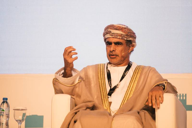 Abu Dhabi, November 9th, 2015. Mohammed Bin Hamad Al Rumhy, Minister of Oil & Gas for Oman, speaks during a ministerial panel discussion on the second day of the ADIPEC exhibition at the Abu Dhabi Exhibition Center. Alex Atack for The National. *** Local Caption ***  AA_0911_ADIPEC-6.jpg