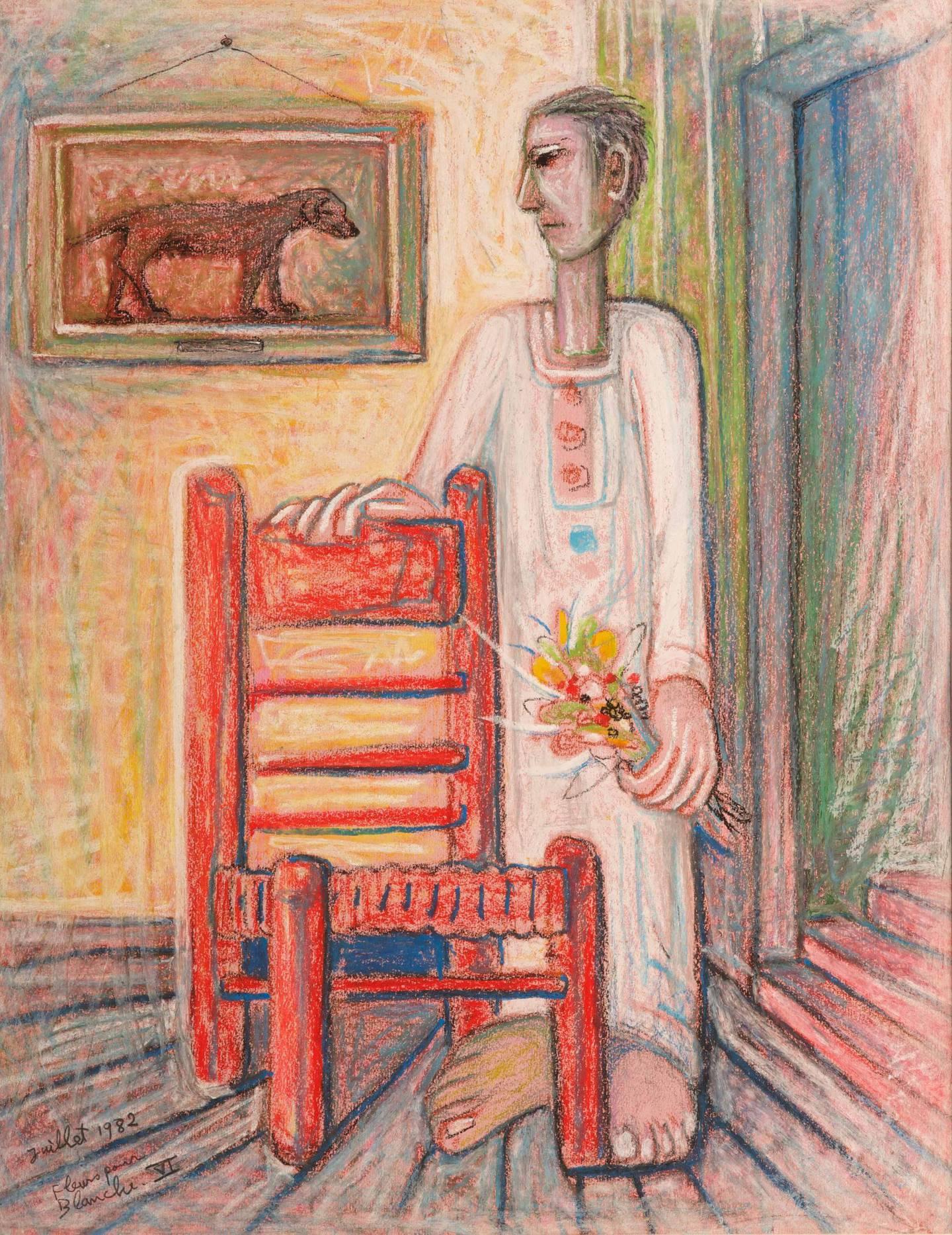 SR008_LR_Samir Rafi, Fluer Pour Blanche VI, 1982, Pastel on Paper,49x64cm, Image courtesy of Ubuntu Art Gallery