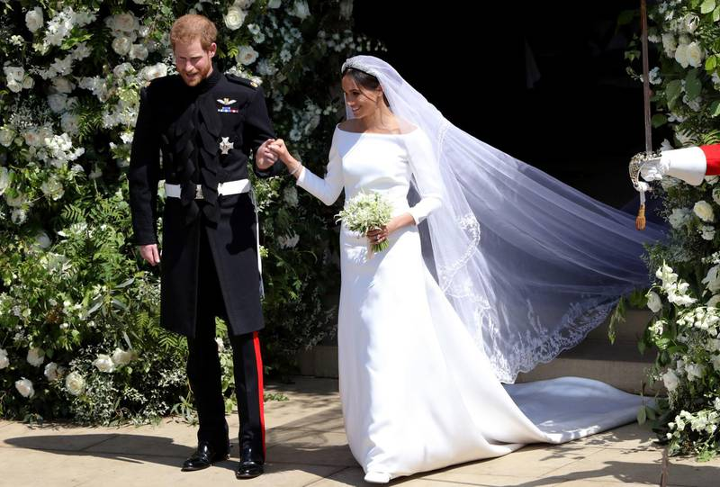 WINDSOR, UNITED KINGDOM - MAY 19:  Prince Harry, Duke of Sussex and Meghan, Duchess of Sussex leave St George's Chapel, Windsor Castle after their wedding ceremony on May 19, 2018 in Windsor, England. (Photo by Andrew Matthews - WPA Pool/Getty Images)