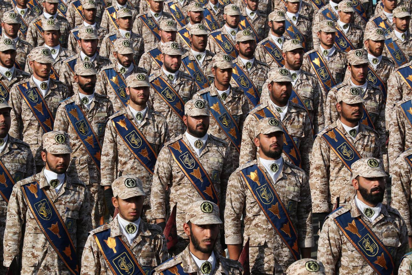 epa07860408 A handout picture made available by the presidential office shows Iranian soldiers  during the annual military parade marking the Iraqi invasion in 1980, which led to an eight-year-long war (1980-1988), in Tehran, Iran, 22 September 2019. Media reported that Rouhani said that he would present a cooperation plan for peace in the region during the UN summit in New York.  EPA/Iranian President Office HANDOUT  HANDOUT EDITORIAL USE ONLY/NO SALES