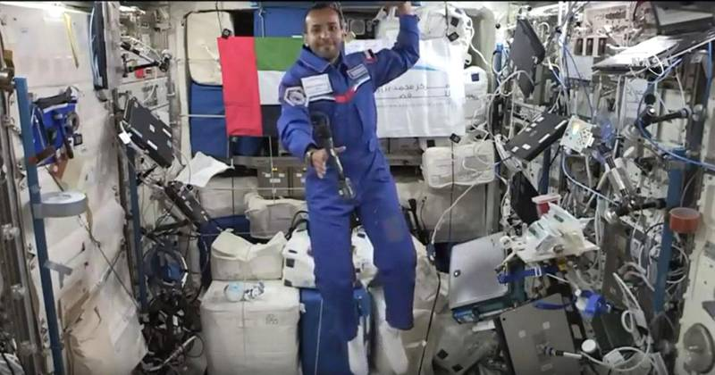Emirati astronaut Hazza Al Mansouri takes live Q&A from space and gives a tour of ISS. Screengrab via Youtube Live