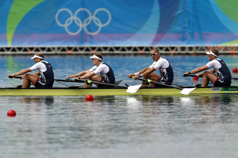 RIO DE JANEIRO, BRAZIL - AUGUST 12:  Alex Gregory, Mohamed Sbihi, George Nash and Constantine Louloudis of Great Britain compete in the Men's Four Final A on Day 7 of the Rio 2016 Olympic Games at Lagoa Stadium on August 12, 2016 in Rio de Janeiro, Brazil.  (Photo by Patrick Smith/Getty Images)