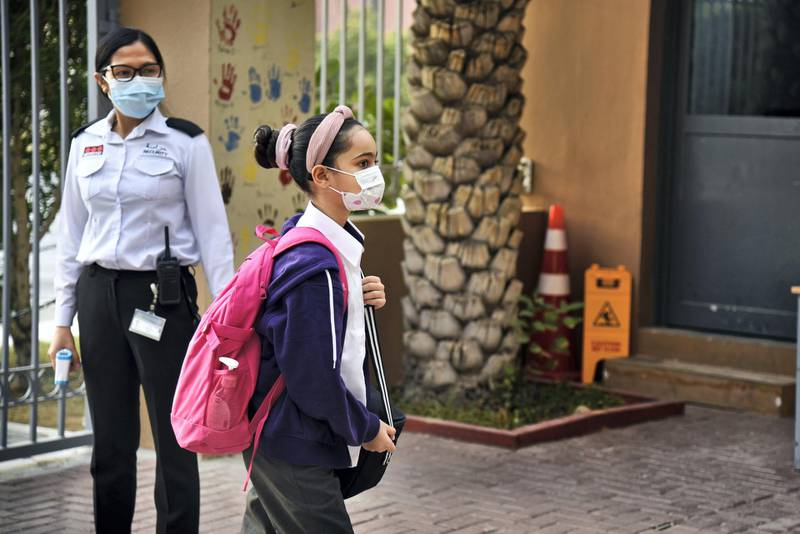 Student in protective face mask arrives at the Al-Mizhar American Academy as the government re-opens schools after months in the wake of Covid-19 pandemic in Dubai, UAE, Sunday, Aug. 30, 2020. (Photos by Shruti Jain - The National)