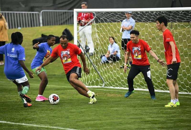 Abu Dhabi, United Arab Emirates - Marcos Evangelista de Morais known as Cafu plays at the Unified Sports Experience at Zayed Sports City. Khushnum Bhandari for The National