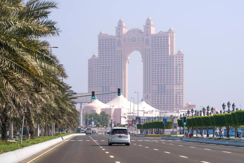 Abu Dhabi, United Arab Emirates, May 27, 2020.  Hazy day along the Corniche-Marina Mall area, Abu Dhabi.Victor Besa  / The NationalSection:  Standalone / Stock