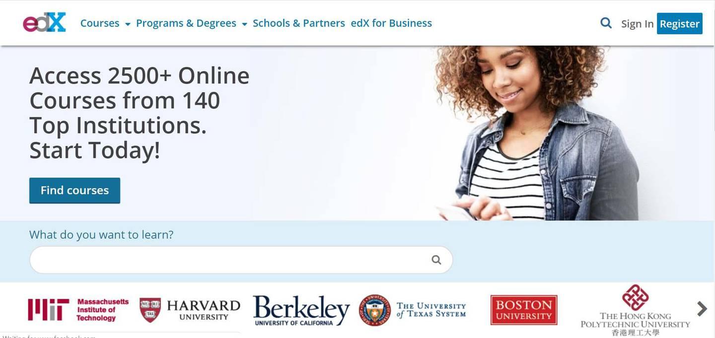 A screenshot of the website of edX.