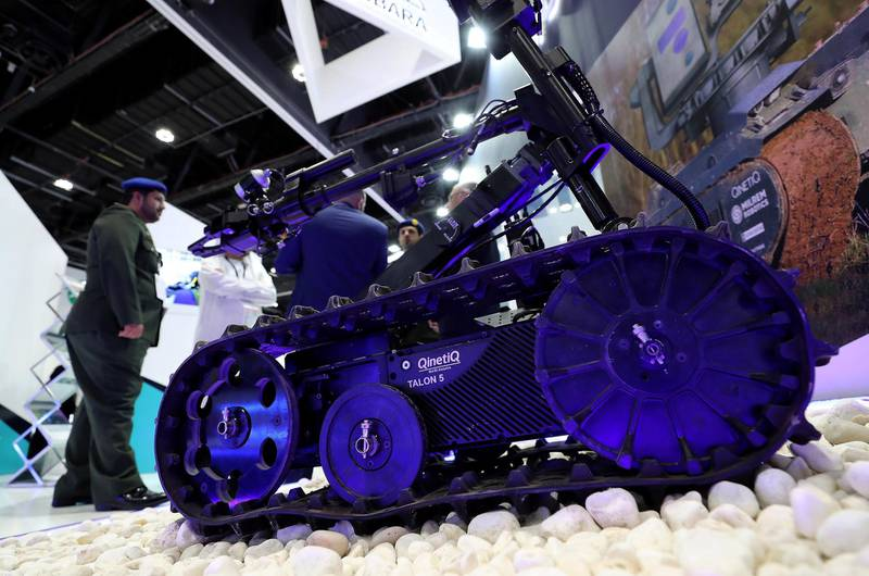ABU DHABI, UNITED ARAB EMIRATES , Feb 23  – 2020 :- Talon 5 robot on display at the UMEX & SimTEX held at Abu Dhabi National Exhibitions Centre in Abu Dhabi. (Pawan  Singh / The National) For News/Online/Instagram.  Story by Kelsey Warner