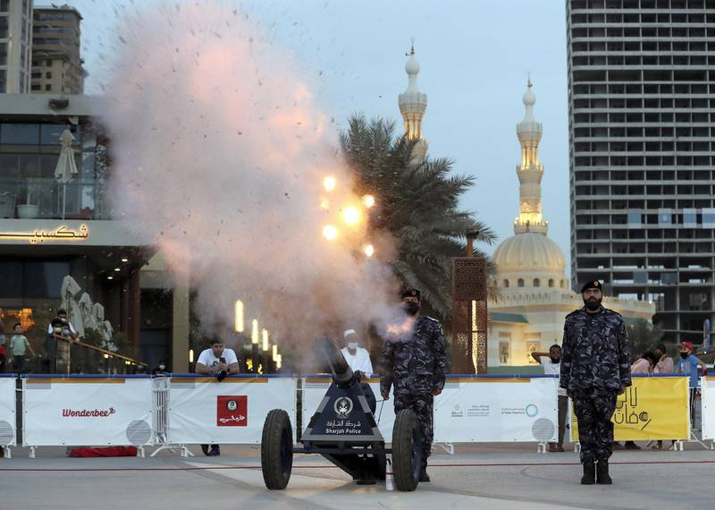 Sharjah, United Arab Emirates - Reporter: N/A. News. Cannon firing at Al Majaz Waterfront in Sharjah on the second day of Ramadan to break the fast. Wednesday, April 14th, 2021. Sharjah. Chris Whiteoak / The National