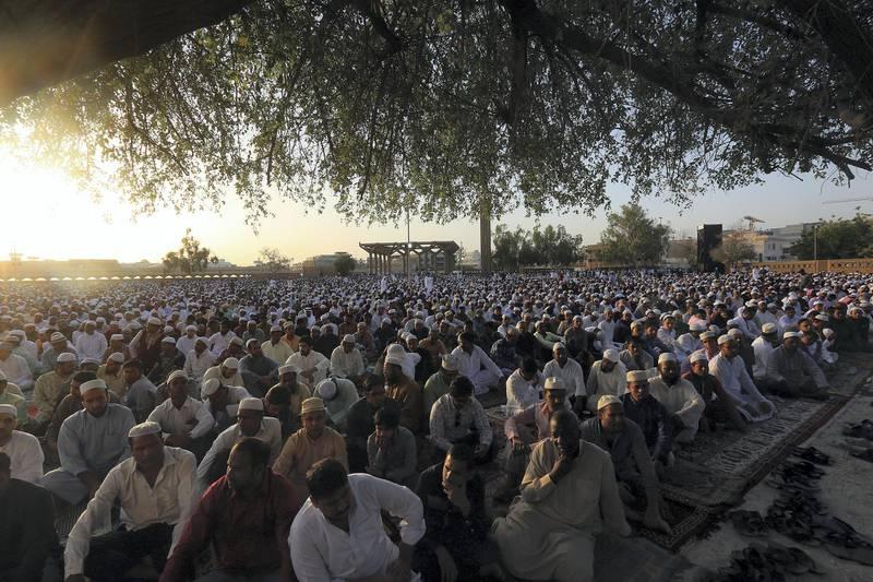 Dubai, June, 15, 2018: Thousands gather at the Eidgah in Deira to offer Eid Prayers in Dubai. Satish Kumar for the National