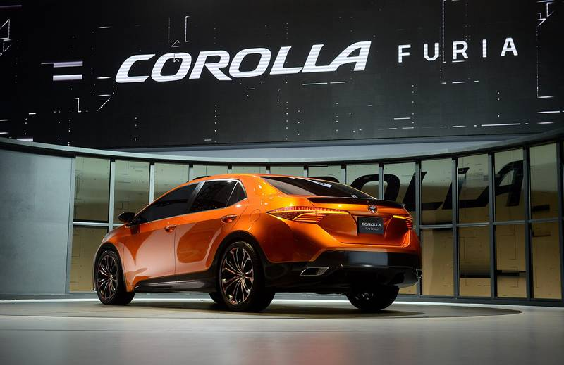 The Toyota Motor Corp. Corolla Furia concept vehicle is displayed  after being unveiled during the 2013 North American International Auto Show (NAIAS) in Detroit, Michigan, U.S., on Monday, Jan. 14, 2013. The Detroit auto show runs through Jan. 27 and will display over 500 vehicles, representing the most innovative designs in the world. Photographer: Daniel Acker/Bloomberg *** Local Caption ***  1148958.jpg