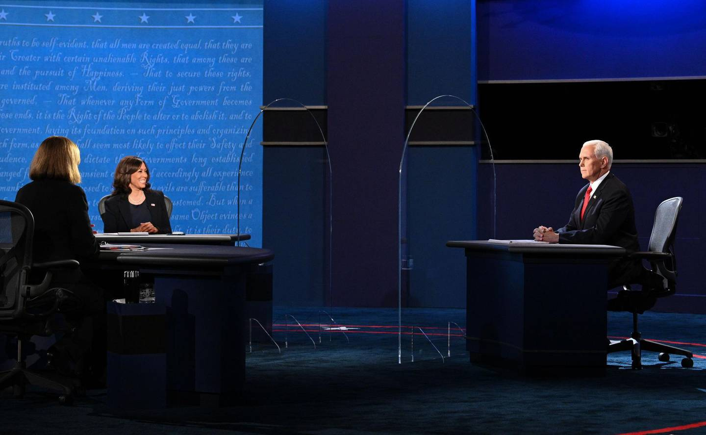 US Vice President Mike Pence Mike Pence (R) and US Democratic vice presidential nominee and Senator from California, Kamala Harris participate in the vice presidential debate in Kingsbury Hall at the University of Utah on October 7, 2020, in Salt Lake City, Utah.  / AFP / Robyn Beck
