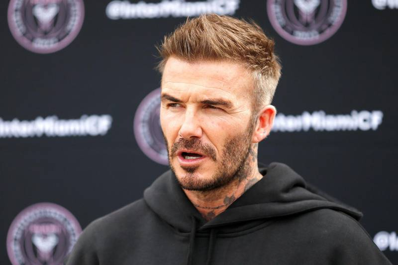 FORT LAUDERDALE, FLORIDA - FEBRUARY 25: Owner and President of Soccer Operations David Beckham addresses the media ahead of Inter Miami CF's inaugural match on March 1st against LAFC, during media availability at Inter Miami CF Stadium on February 25, 2020 in Fort Lauderdale, Florida.   Michael Reaves/Getty Images/AFP