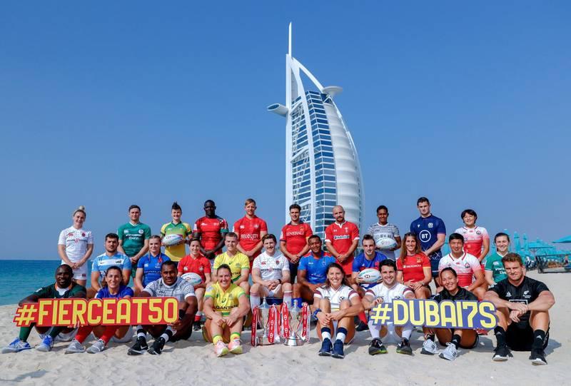 Dubai, United Arab Emirates, December 3, 2019.  Emirates Airline Dubai Rugby Sevens Captains Shoot at the Jumeirah Mina A'Salam.Victor Besa / The NationalReporter:  Paul RadleySection: SP
